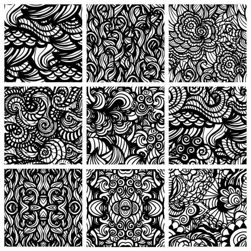 Reeks van negen hand-drawn naadloze patronen vector illustratie