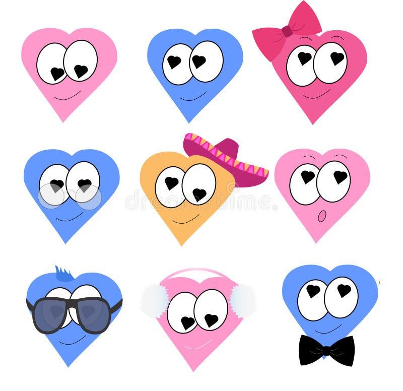 Reeks van negen harten met vele uitdrukkingen en veel kostuums stock illustratie