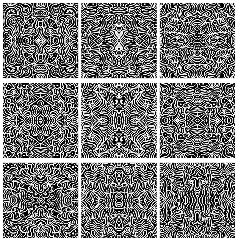 Reeks van Negen Naadloze Abstracte Vectoren van het Patroon stock illustratie