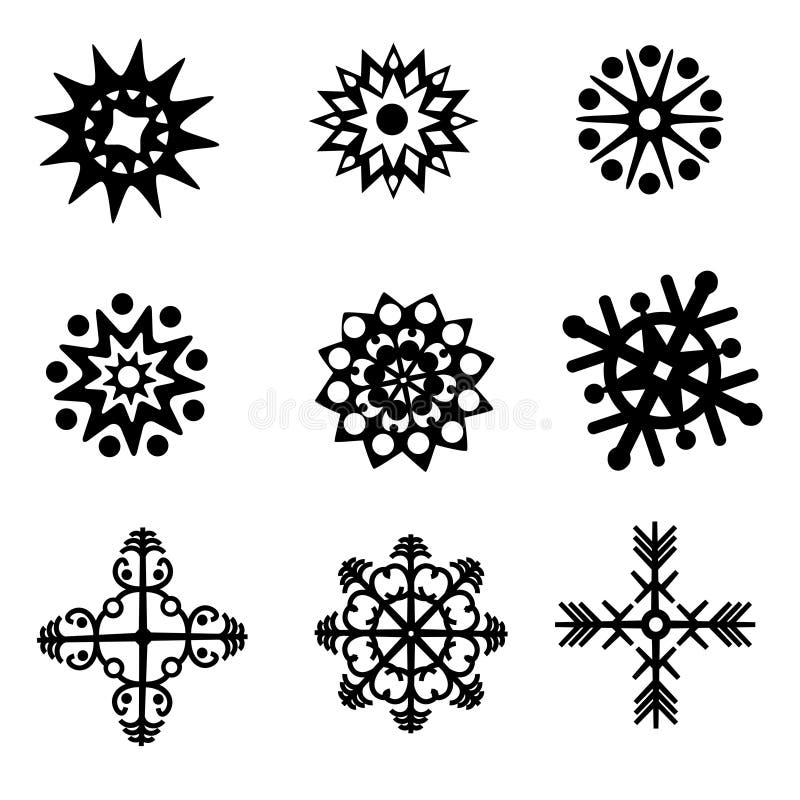 Reeks van negen silhouetten van sneeuwvlokken vector illustratie