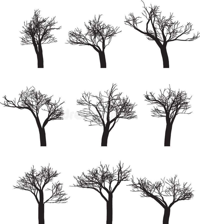 Reeks van negen silhouetten van bomen vector illustratie