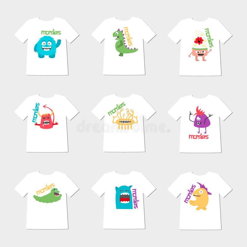 Reeks van negen t-shirts met beeldverhaal leuke monsters stock foto's