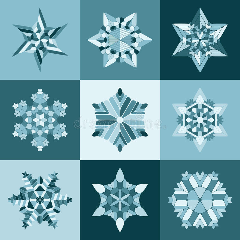 Reeks van Negen Vector Blauwe Witte het Ontwerpelementen van Sneeuwvlokvormen royalty-vrije illustratie