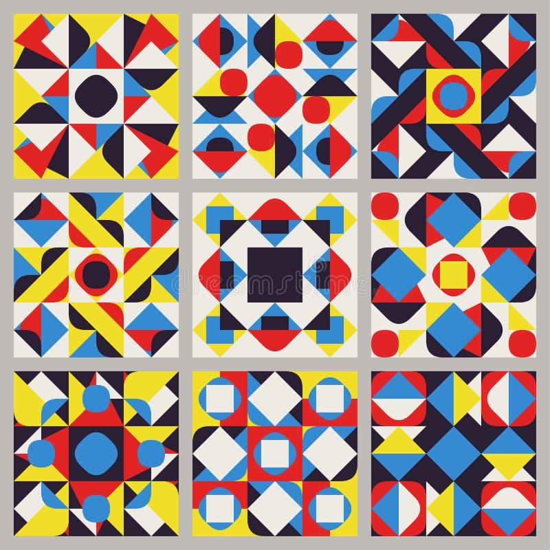 Reeks van Negen Vector Naadloze Blauwe Rode Gele Witte het Patrooninzameling van het Kleuren Retro Geometrische Etnische Vierkant stock illustratie