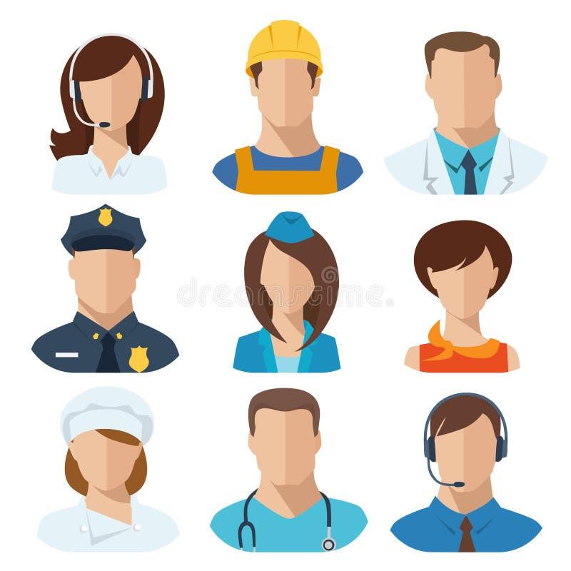 Reeks van negen verschillende beroepen mannelijke en vrouwelijke avatars royalty-vrije illustratie