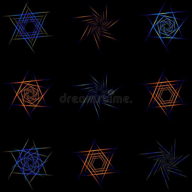 Reeks van negen verschillende sterren vector illustratie