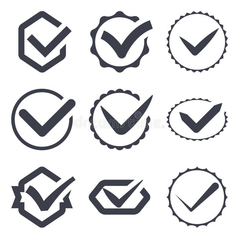 Reeks van negen verschillende vectorvinkjes vector illustratie