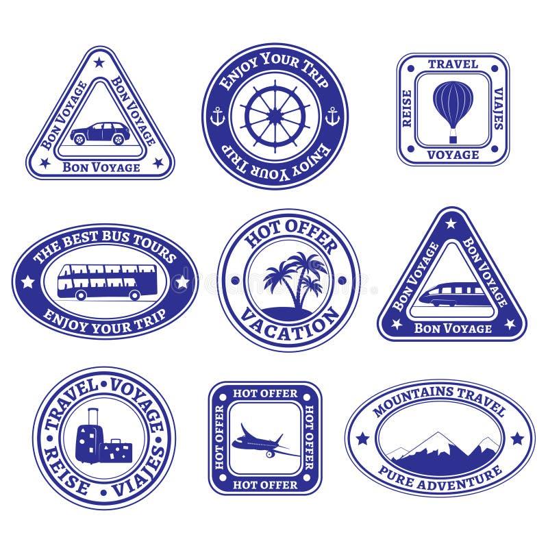 Reeks reis en toerismezegels en kentekens royalty-vrije illustratie