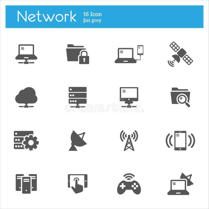 Reeks van netwerk de vlakke grijze pictogrammen van 16 royalty-vrije illustratie