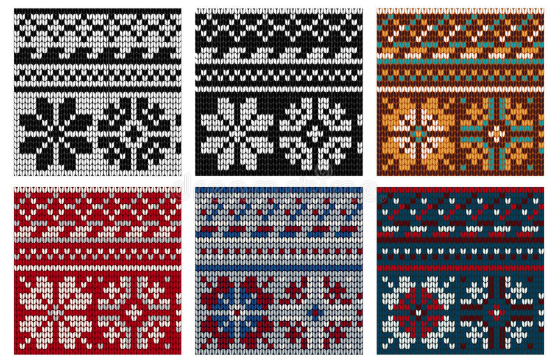 Reeks van Noor die naadloos patroon breien vector illustratie
