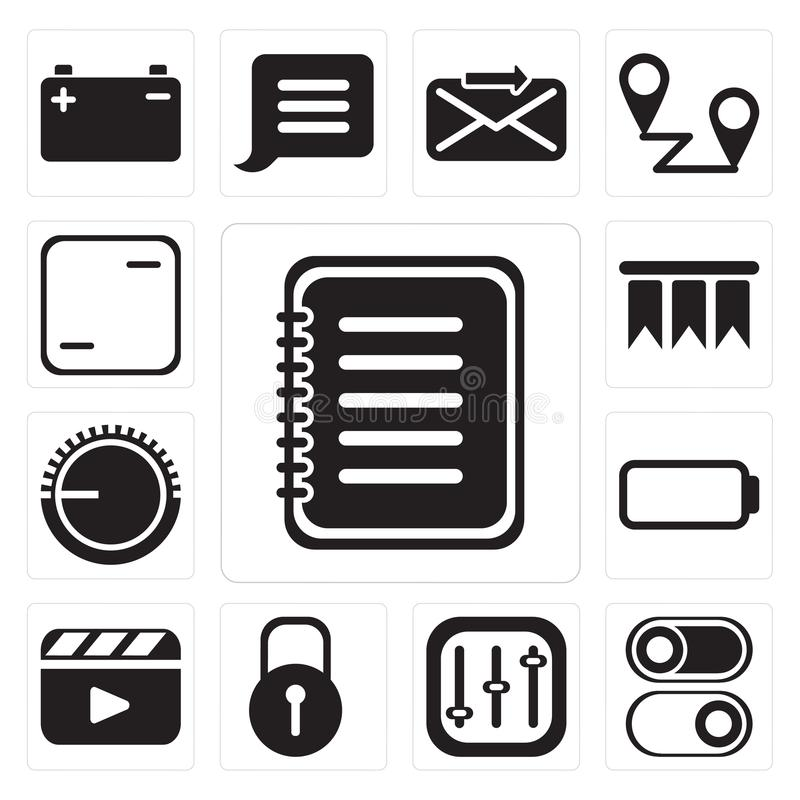 Reeks van Nota, Schakelaar, Controles, Gesloten, Videospeler, Batterij, Vo vector illustratie