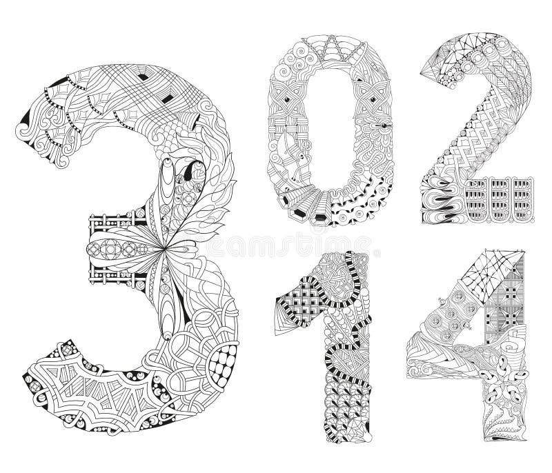 Reeks van nummer nul, één, twee, drie, vier Zentangle Vector decoratieve voorwerpen royalty-vrije illustratie