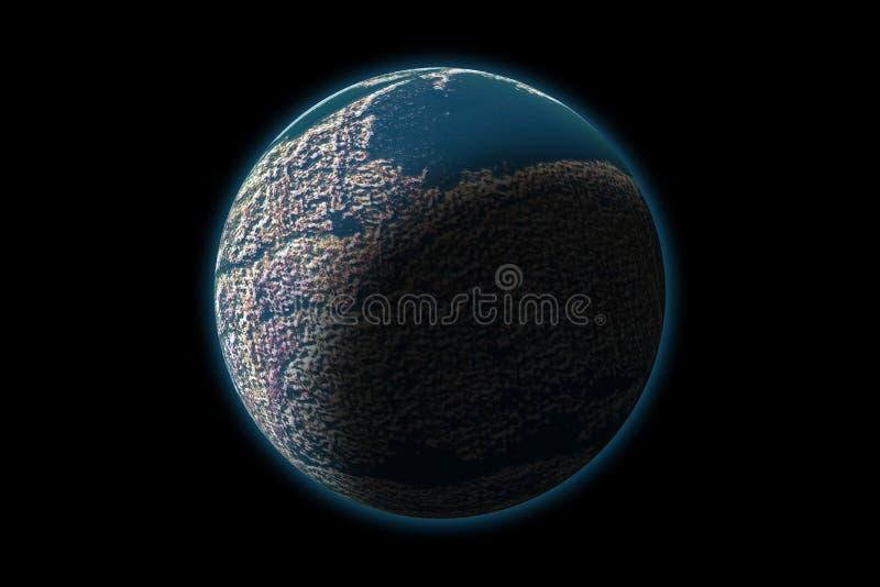Reeks van onbekende planeet op fototextuur, die op zwarte wordt geïsoleerd royalty-vrije illustratie