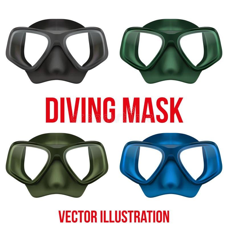 Reeks van Onderwater het duiken scuba-uitrustingsmasker Vector royalty-vrije illustratie
