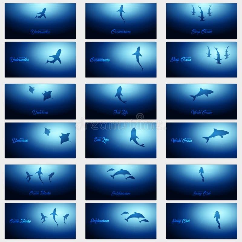 Reeks van Onderwaterachtergronden met zonstralen en silhouet van fishs Diepe Oceaanbanner De vectorillustratie van de kleur vector illustratie