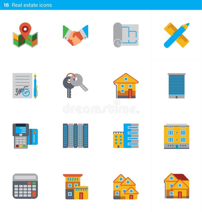 Reeks van 16 onroerende goederenvector vlakke pictogrammen in materiële stijl stock illustratie