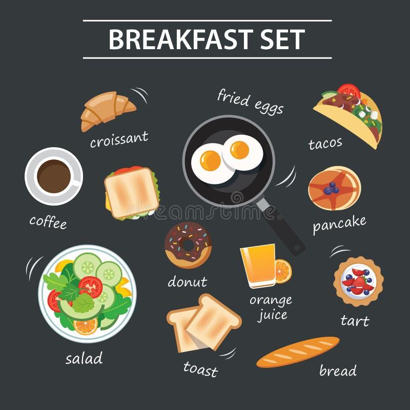 Reeks van ontbijtmenu op bord vector illustratie
