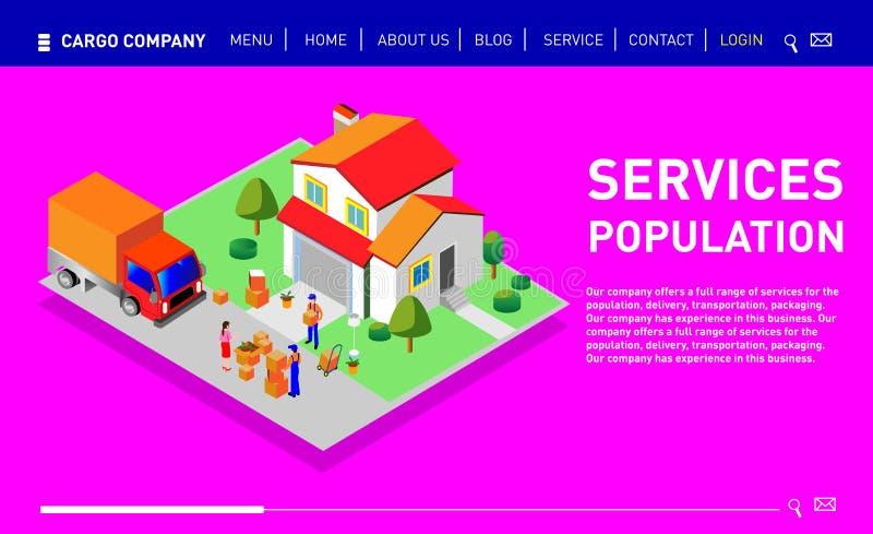Reeks van ontwerpwebsite, landingspagina of presentatiemalplaatje royalty-vrije illustratie