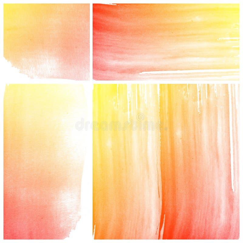 Reeks van oranje Abstracte de kunstverf van de waterkleur royalty-vrije illustratie