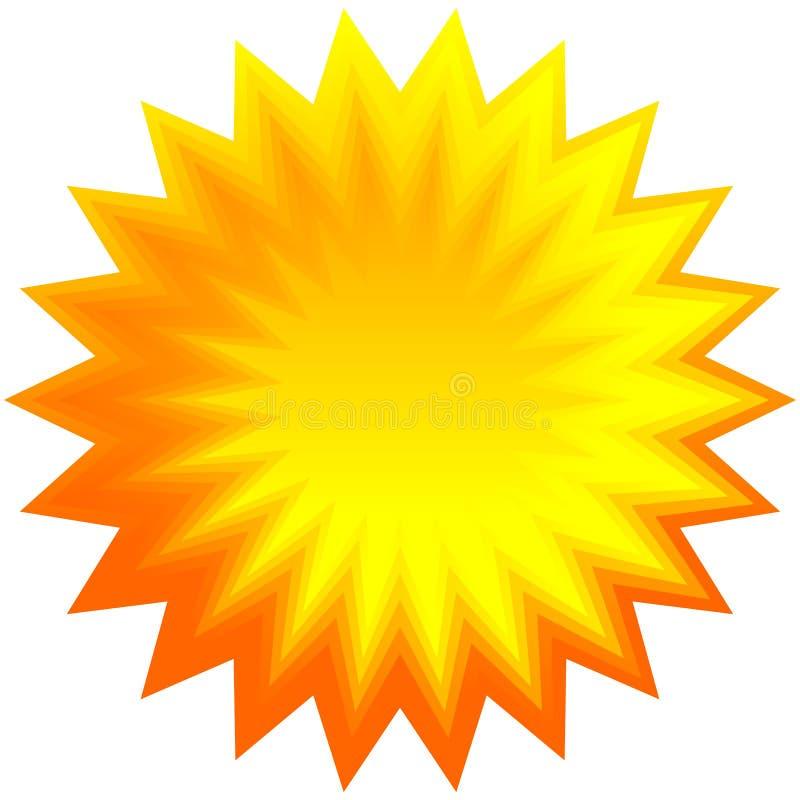 Reeks van oranje geometrische zonnestraal, starburst achtergrond royalty-vrije illustratie