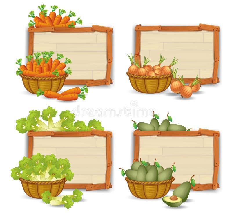Reeks van organische groente op houten raad vector illustratie
