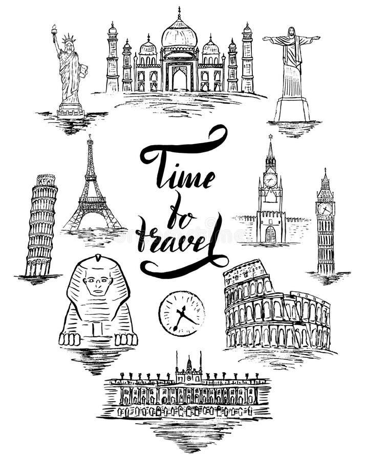 Reeks van oriëntatiepunt van Agra, Kaïro, Rio DE janeiro, Pisa, Madrid, New York, Moskou, Parijs, Rome, Londen stock illustratie