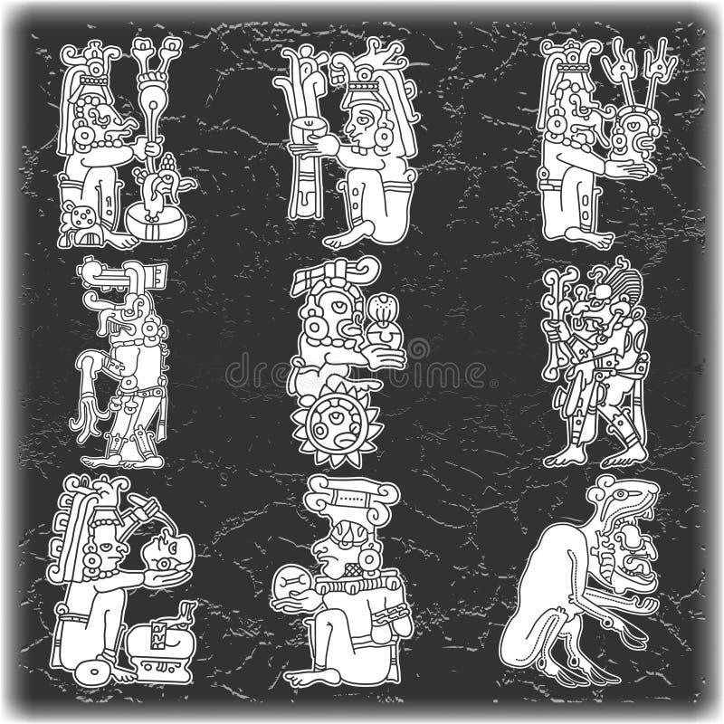 Reeks van ornament in stijl van Maya royalty-vrije stock afbeelding