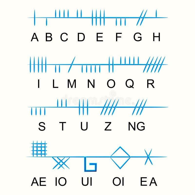 Reeks van oud heilig Keltisch Ogham-alfabet Oude geheime symbolen, vector illustratie