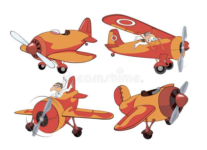 Reeks van oud vliegtuigenbeeldverhaal royalty-vrije illustratie