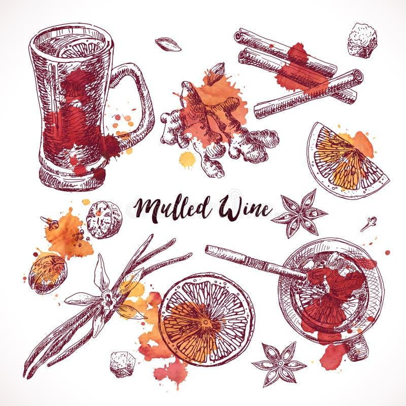 Reeks van overwogen wijn, hand getrokken ingrediënten Kokend aromaingrediënt royalty-vrije illustratie