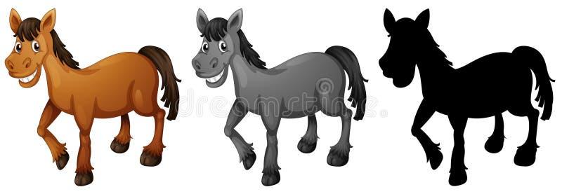 Reeks van paard het glimlachen stock illustratie