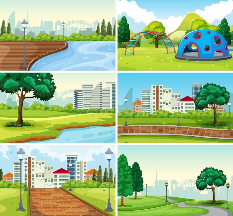 Reeks van parkachtergrond royalty-vrije illustratie