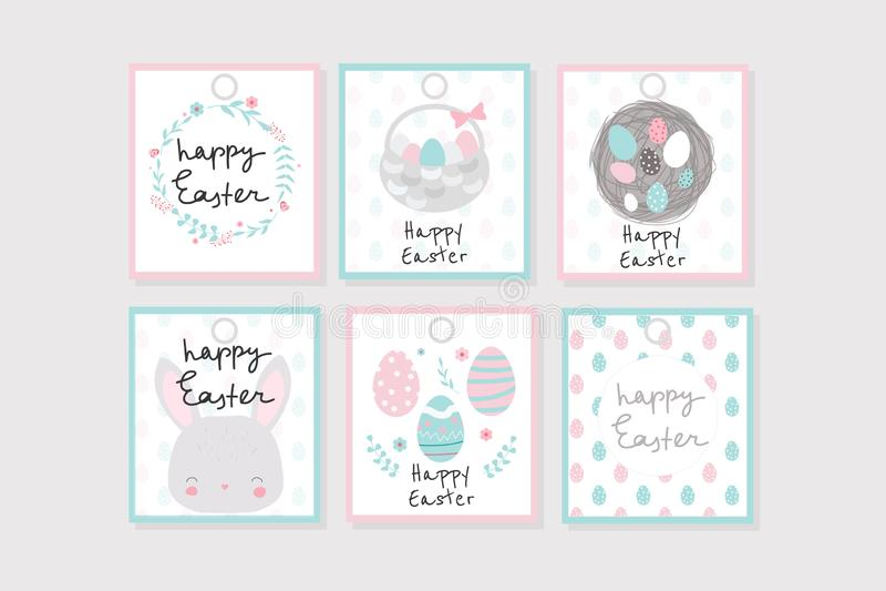 Reeks van 6 Pasen-giftmarkeringen met kroon, konijntje, eieren, enz. Perfectioneer voor stickers, flarden, markeringen, enz. royalty-vrije illustratie