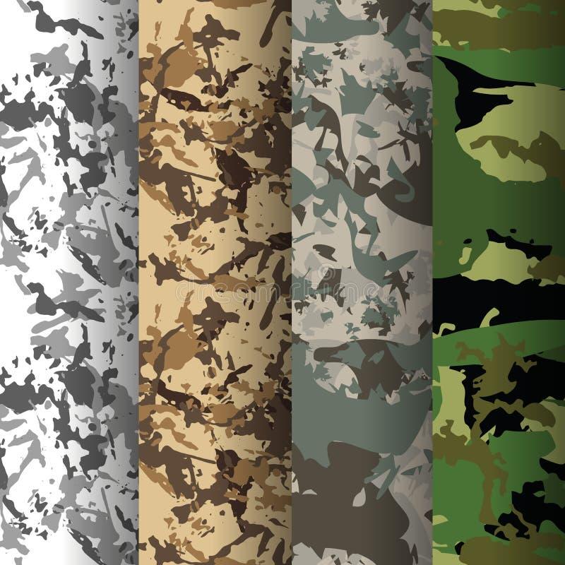 Reeks van 4 patronen van de maniercamouflage Vector illustratie Kan voor textiel of drukontwerp worden gebruikt royalty-vrije illustratie