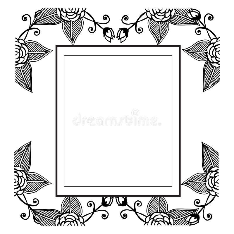 Reeks van patroon bloemen, wijnoogst van decoratieve bloemen, voor diverse uitnodigingskaart Vector stock illustratie
