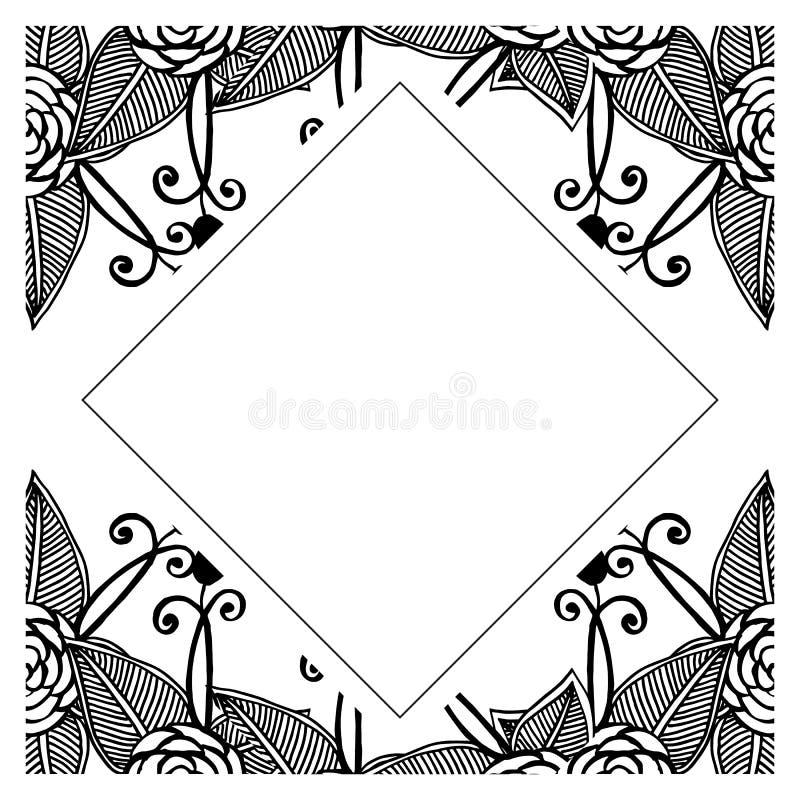 Reeks van patroon bloemen, wijnoogst van decoratieve bloemen, voor diverse uitnodigingskaart Vector royalty-vrije illustratie