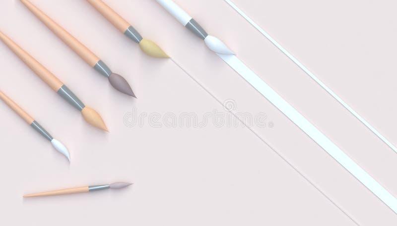 Reeks van penseel de artistieke Toons en Mooi kunstwerk in studio en minimaal Concept op achtergrond van de pastelkleur de Gele T stock illustratie