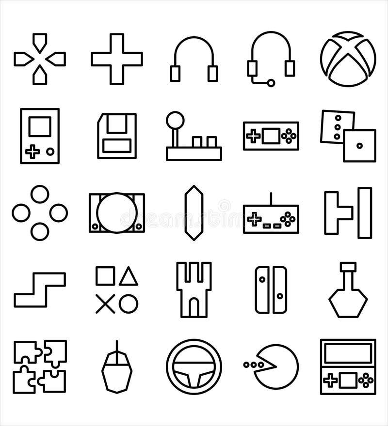 Reeks van pictogram of de illustratie van de Videospelletje het vector zwarte lijn o stock illustratie