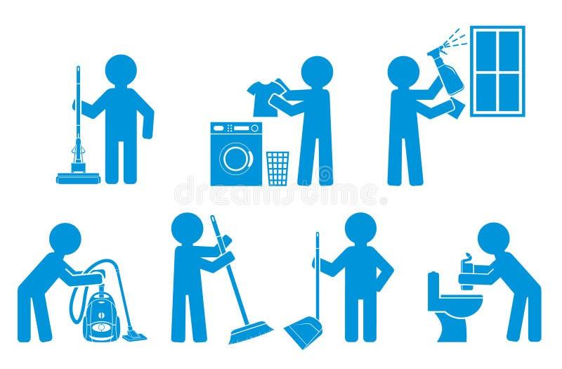 Reeks van pictogram het schoonmaken met cijfermensen stock illustratie