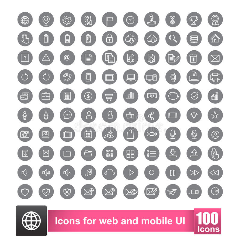Reeks van pictogram 100 met achtergrond voor Web en mobiele slimme telefoon stock illustratie