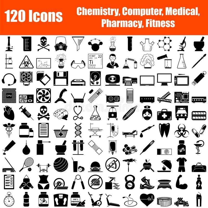 Reeks van 120 pictogrammen royalty-vrije illustratie