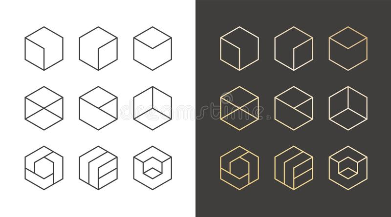 Reeks van 9 pictogrammen, in gouden embleem Lineaire ontwerpelementen Hexagon vectorillustratie stock illustratie
