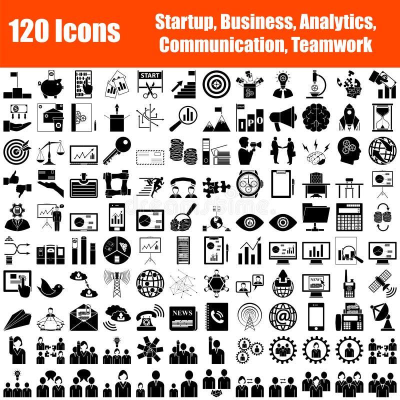 Reeks van 120 pictogrammen stock illustratie
