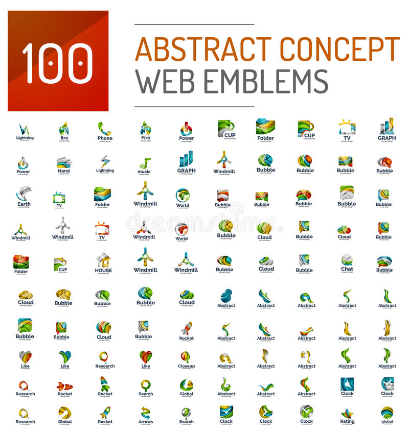 Reeks van 100 pictogrammen van het de conceptenembleem van Webinternet stock illustratie