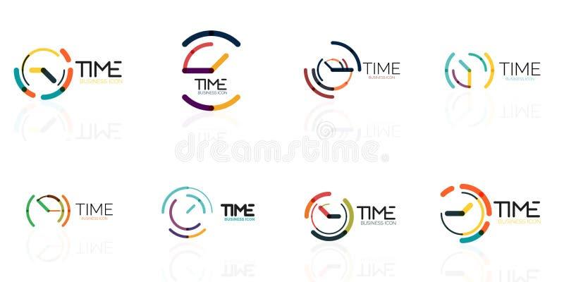 Reeks van pictogrammen, vector abstract embleemidee, tijdconcept of klok bedrijfspictogram Het creatieve malplaatje van het logot royalty-vrije illustratie