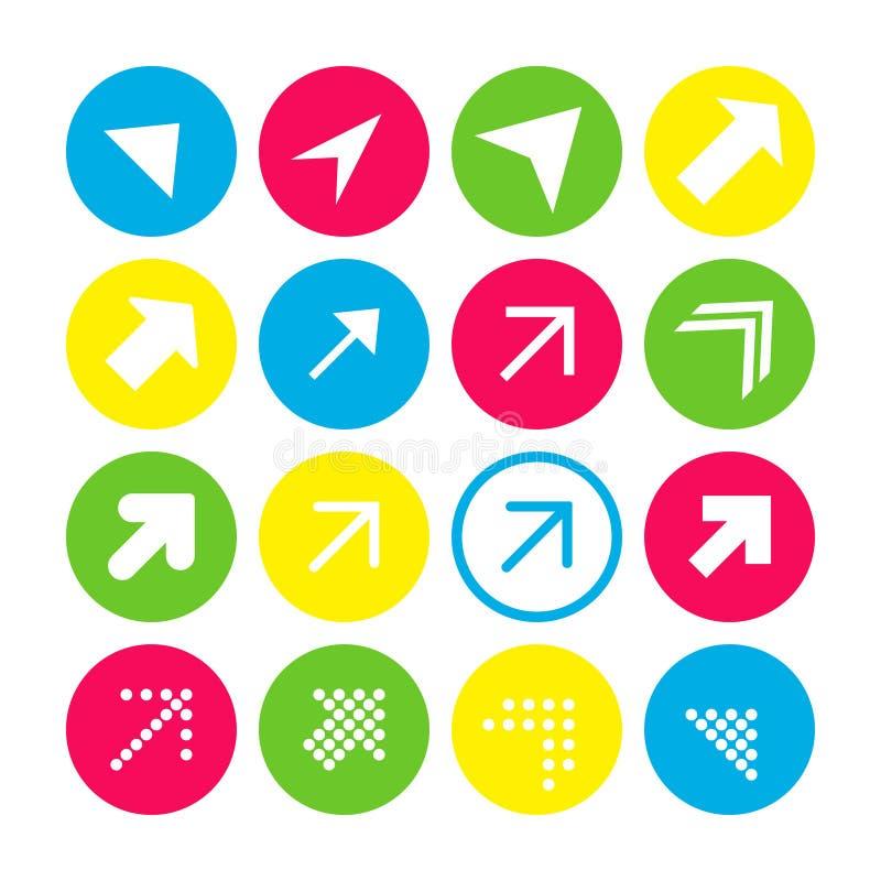 Reeks van 16 pijlen met de noordoostelijke richting Pijlknopen op witte achtergrond in karmozijnrode, blauwe, gele en transparant royalty-vrije illustratie