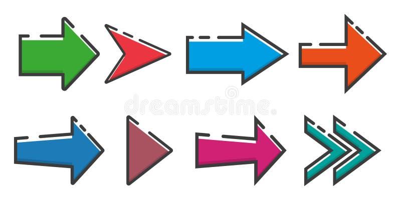 Reeks van pijlenpictogram in een vlak ontwerp Vector illustratie EPS10 royalty-vrije illustratie