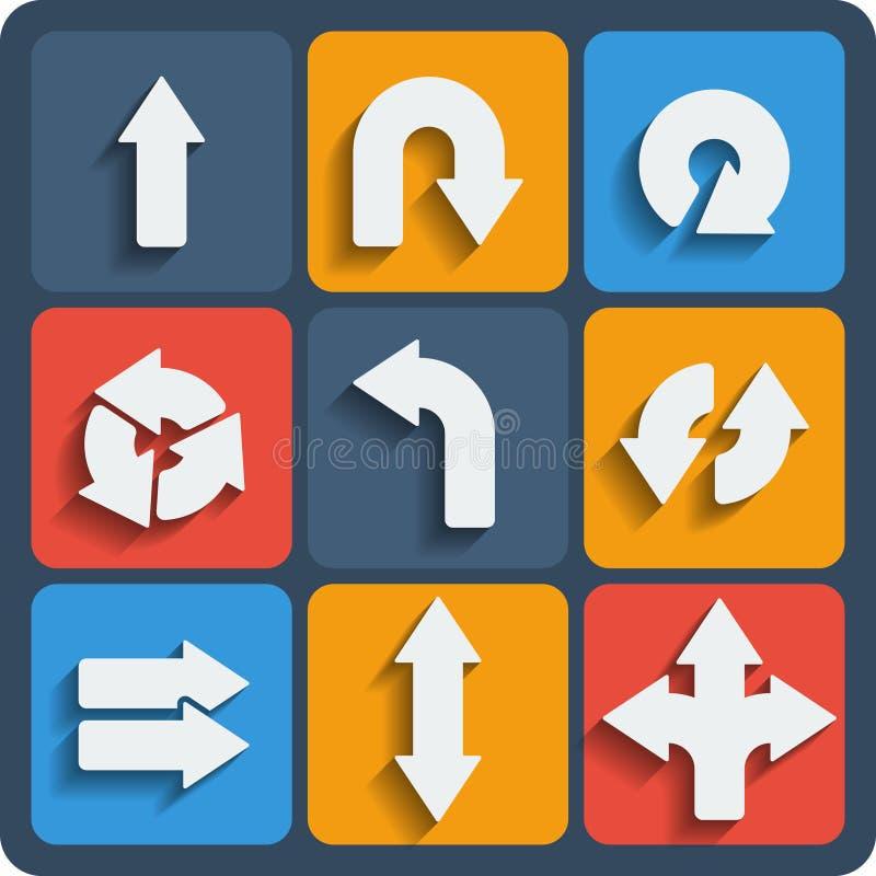 Reeks van 9 pijlenweb en mobiele pictogrammen Vector stock illustratie