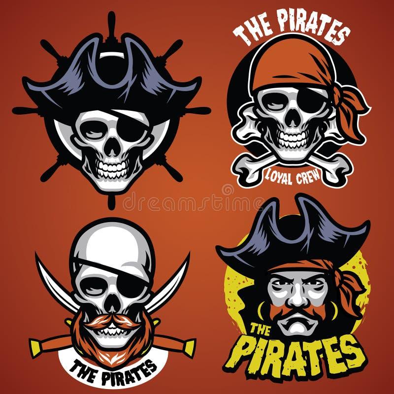 Reeks van piraatkenteken vector illustratie