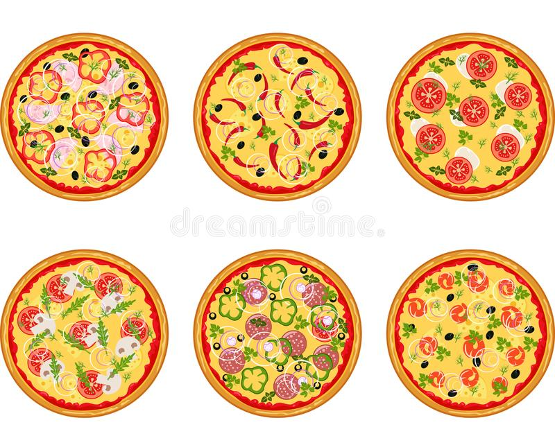 Reeks van pizza met verschillende ingrediënten vector illustratie